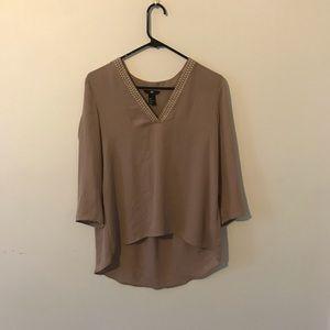 Studded Gray 3/4 Sleeve Blouse